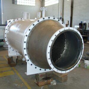 Intercambiador bimetálico: titanio+acero carbono